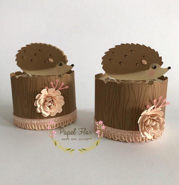 Caixa tronco porco espinho Papel Flor