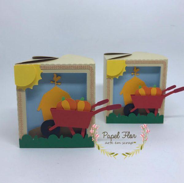 Caixa carrinho de mão abóboras Papel Flor