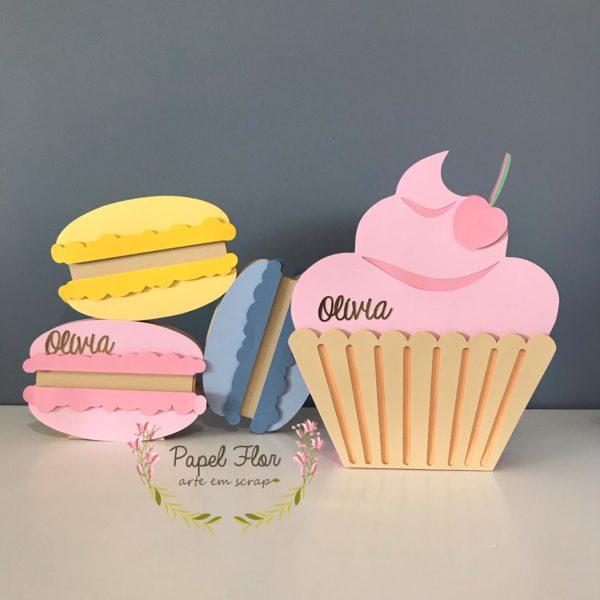 Totem Macarrons e Cupcake Papel Flor