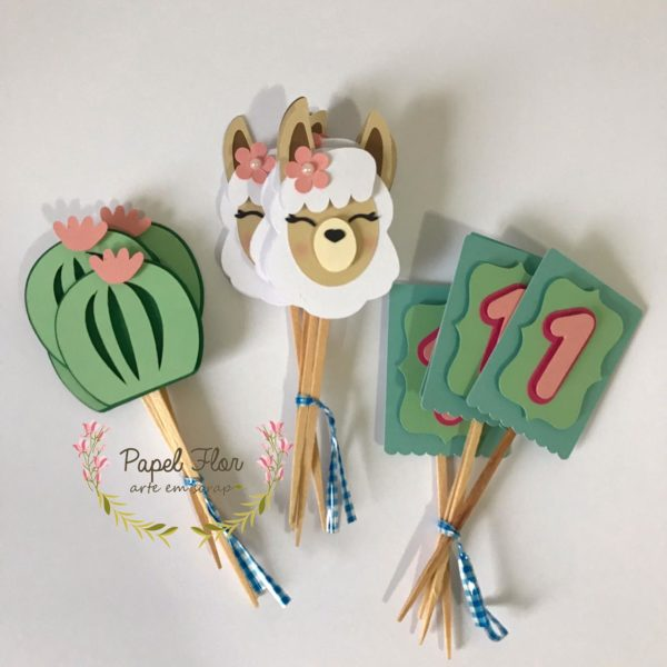 Toppers para doces composê Lhama Papel Flor