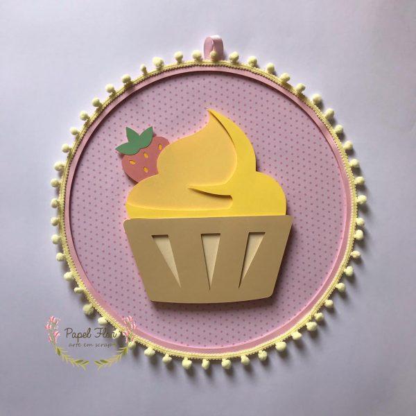 Bastidor cupcake morango_ Papel Flor