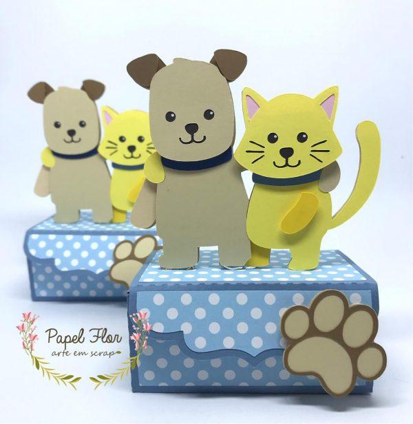 Caixa cenário Cão e gato _ Papel FLor