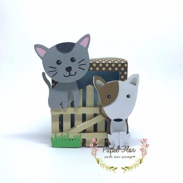 Caixa com visoe cão e gato_ Papel FLor