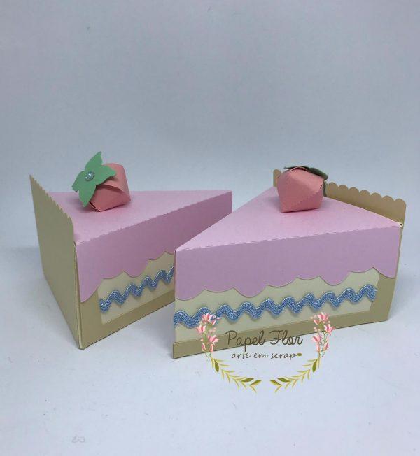 Caixa fatia de torta Papel Flor