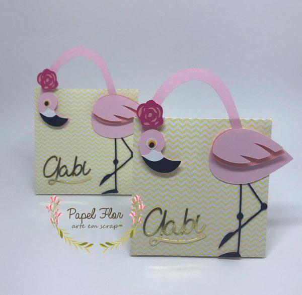 Caixa mini bolsa alça flamingo_ Papel Flor