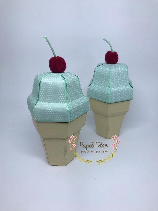 Caixa sorvete 3D_ Papel Flor