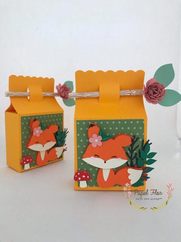 Caixa fechamento canudo raposinha no bosque _ Papel Flor