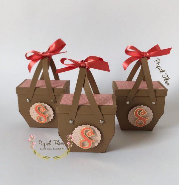 Caixa cesta de pic nic 3D Papel Flor