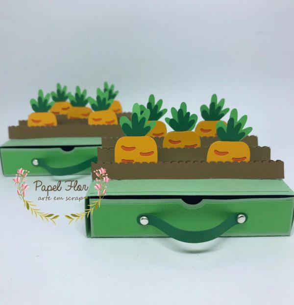 Caixa gavetinha horta de cenouras Papel Flor