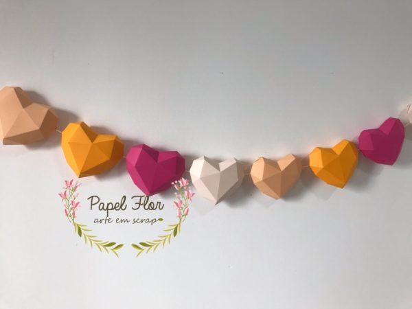 Coração Low Poly Papel Flor2