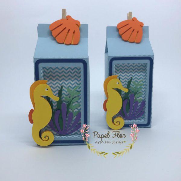 Caixa cavalo marinho _ papel flor