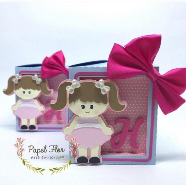 Caixa quadrada com visor Casa de bonecas Papel Flor