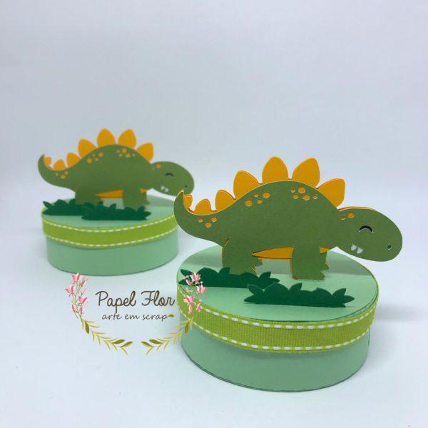 Caixa redonda Dino Papel Flor