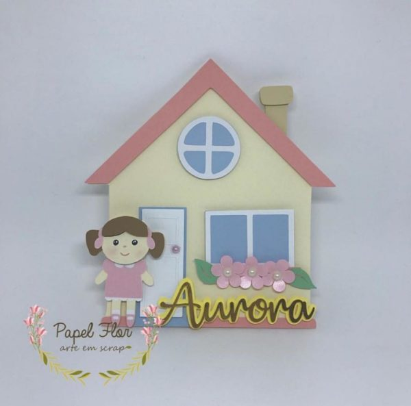 Topper centro de mesa casa de bonecas Papel Flor