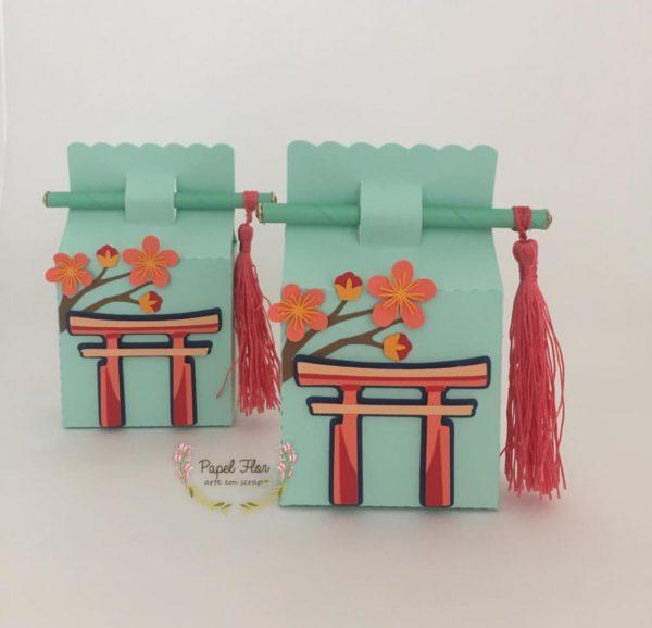 Caixa arco japonês Papel Flor