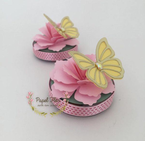 Caixa redonda flor 3d e borboleta_Papel FLor
