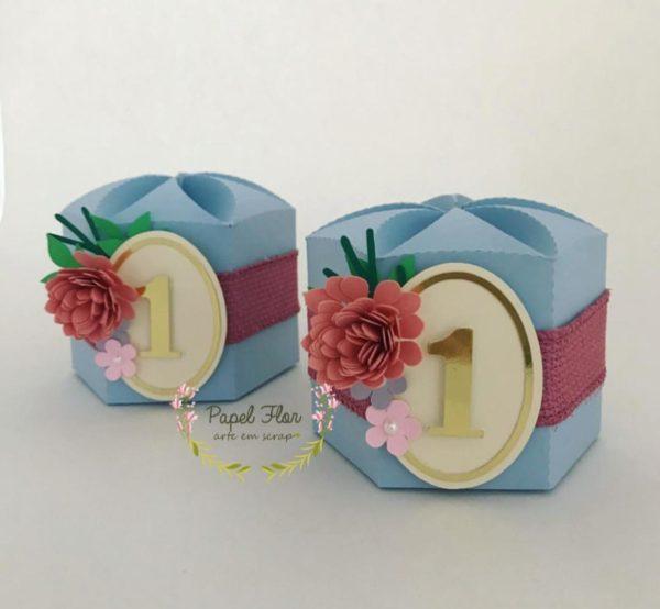 Caixa sextavada flor e frame idade_ Papel Flor