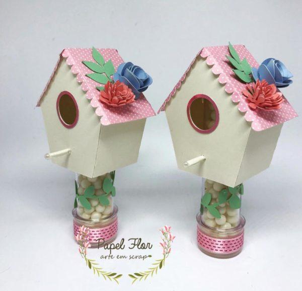 Casinha de pássaro para tubete _ Papel Flor