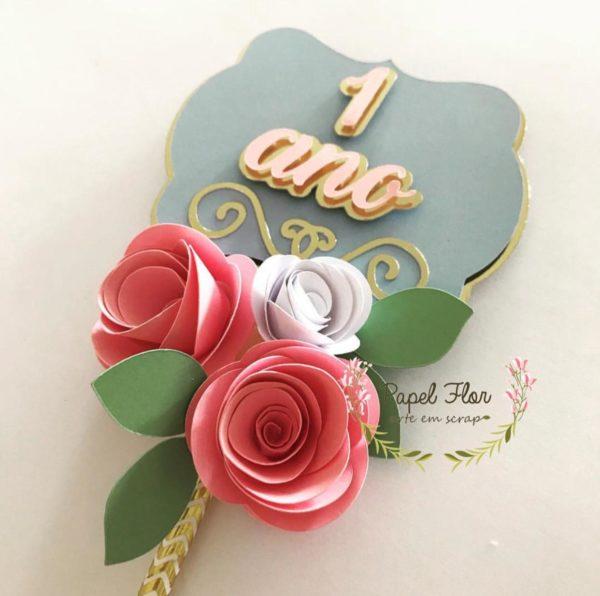 Topper para centro de mesa frame flores _ Papel Flor