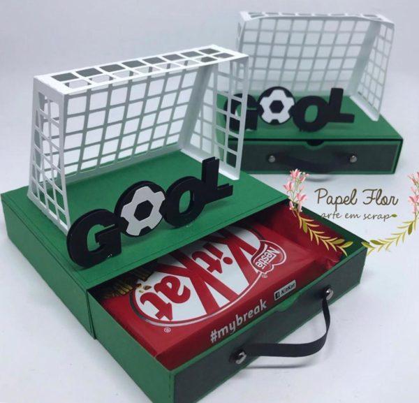 Caixa gaveta para chocolate Trave futebol