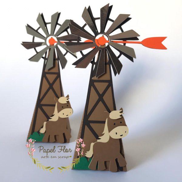 Caixa Cone Moinho cavalo_ Fazendinha Papel Flor