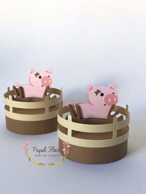 Caixa redonda porquinho na Lama_ Fazendinha Papel Flor