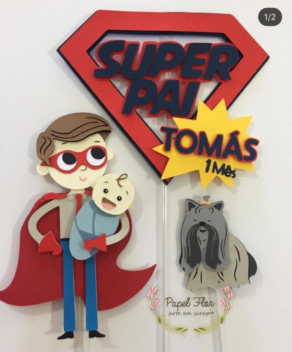 Topper super pai_ Papel Flor 1